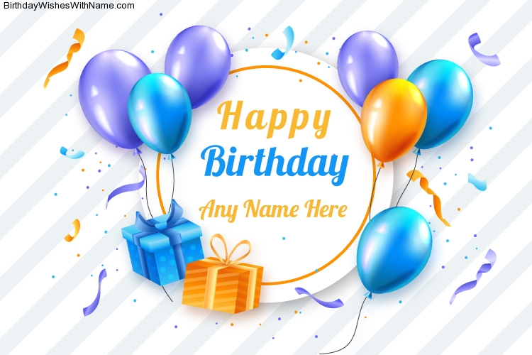 Balloon Birthday Wishes Image With Name