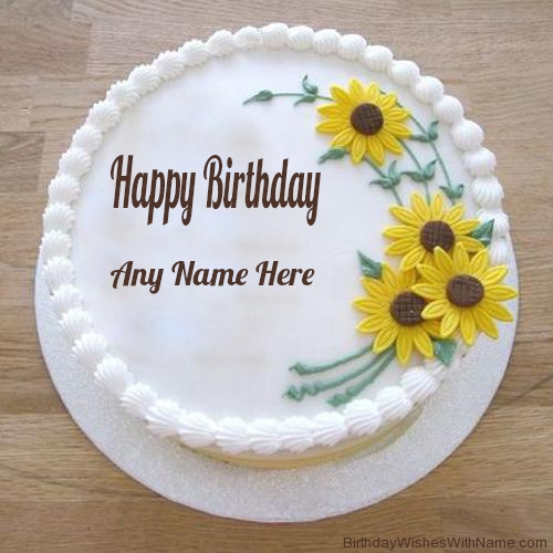 Birthday Wishes Decent Cake With Sunflowers