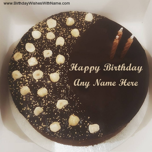 Images of chocolate birthday cakes with names
