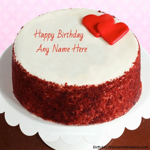 Round Shaped Birthday Cake With Name On Cake