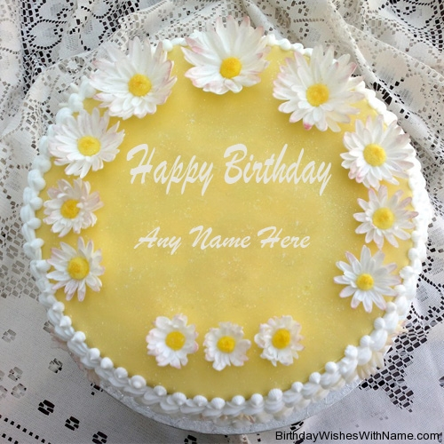White Sunflower Birthday Cake